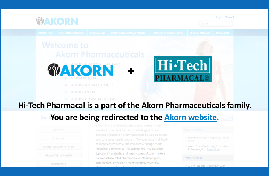 Hi-Tech Pharmacal is a part of the Akorn Pharmaceuticals family.
